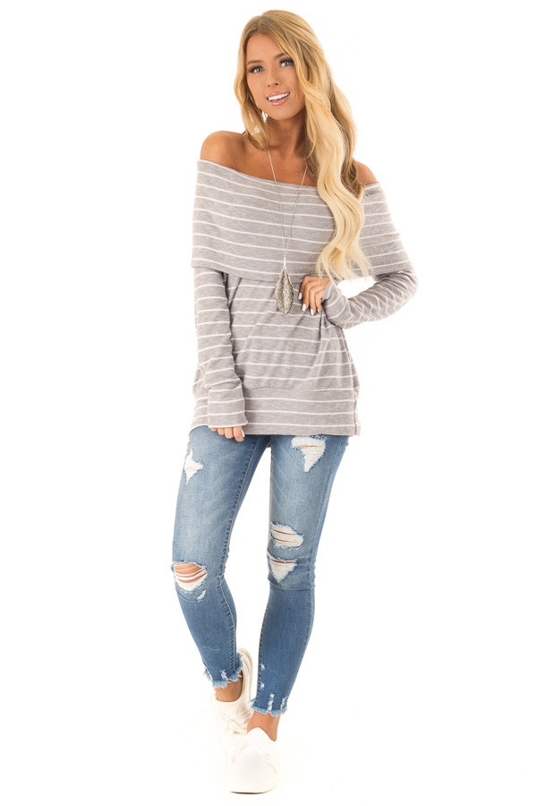 Heather Grey Striped Off Shoulder Long Sleeve Bandeau Top front full body