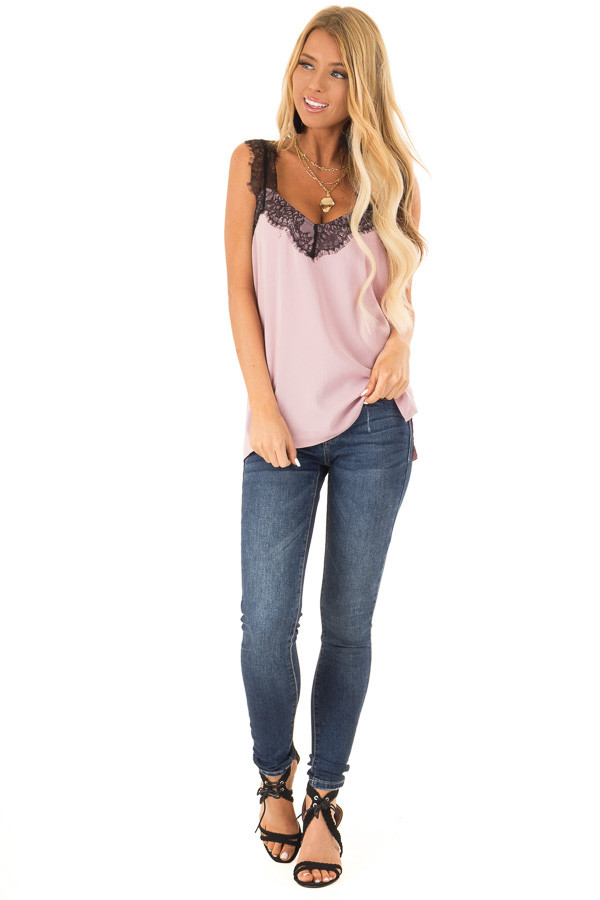 Dusty Blush Tank Top with Black Lace Trim and Side Slits front full body