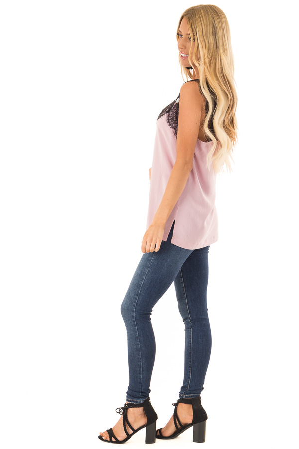 Dusty Blush Tank Top with Black Lace Trim and Side Slits side full body