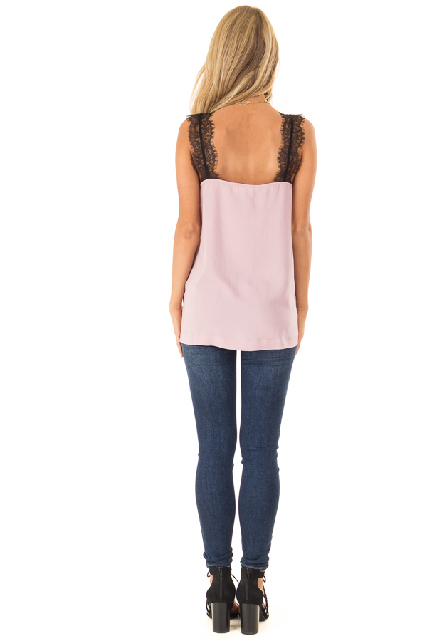 Dusty Blush Tank Top with Black Lace Trim and Side Slits back full body
