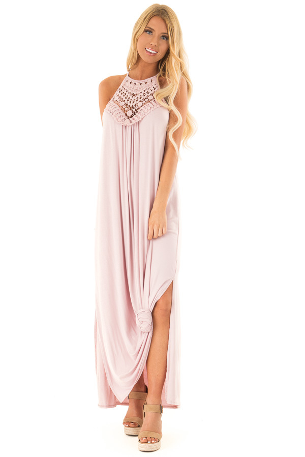 a9ea1d9e434 Blush Spaghetti Strap Maxi Dress with Front Lace Detail - Lime Lush ...