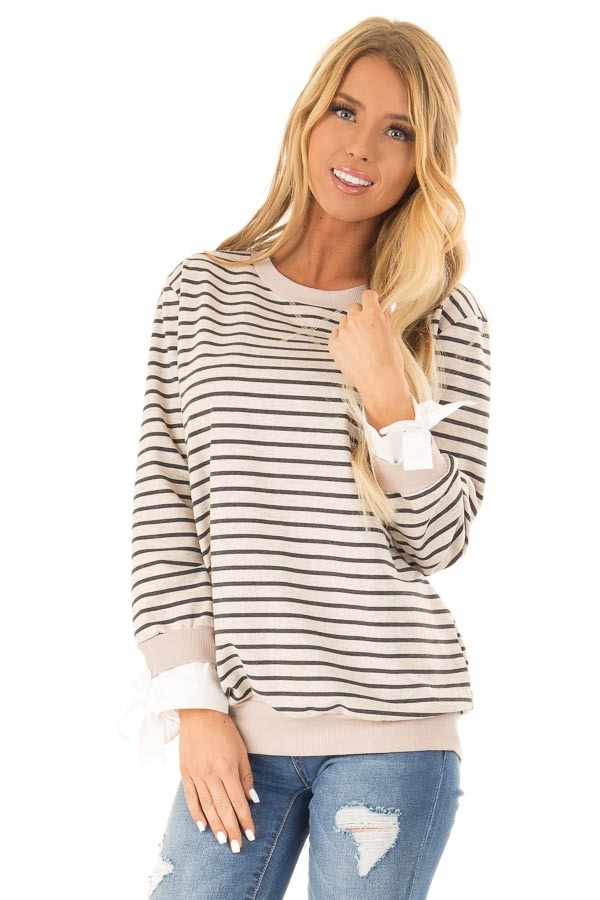 Oatmeal and Charcoal Striped Top with Sleeve Tie Details front close up