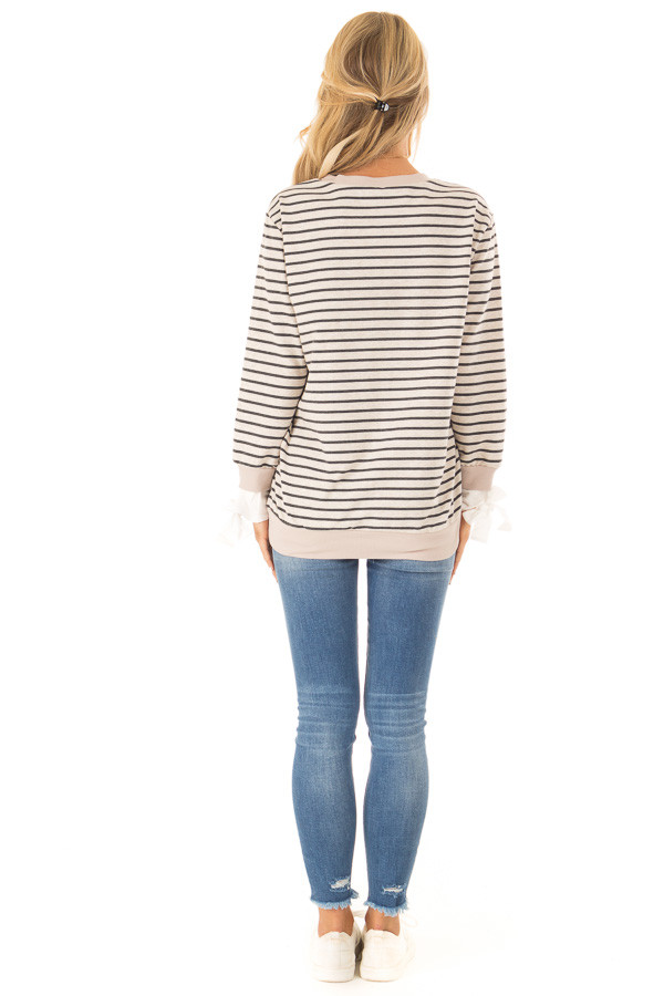 Oatmeal and Charcoal Striped Top with Sleeve Tie Details back full body
