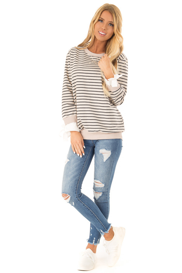 Oatmeal and Charcoal Striped Top with Sleeve Tie Details front full body