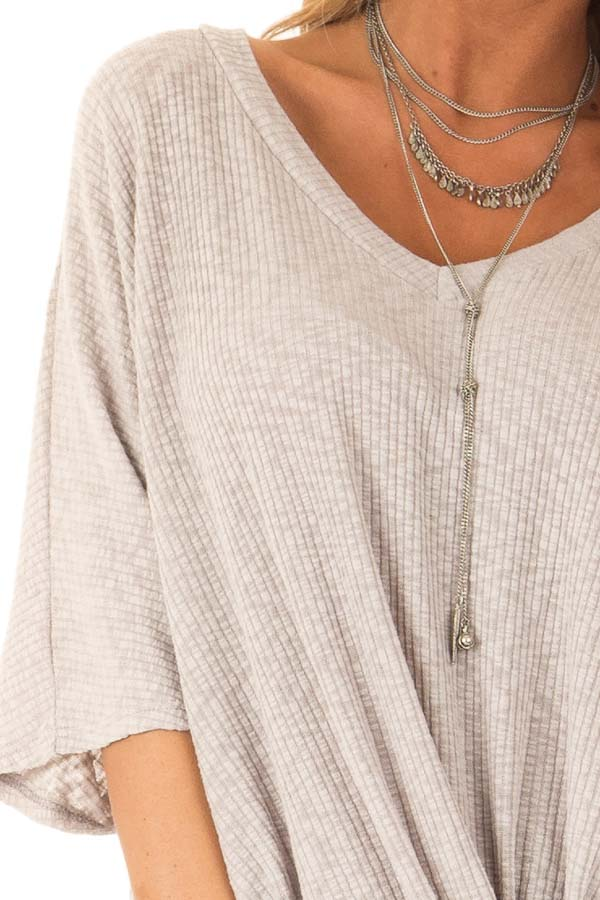 Heather Grey V Neck Ribbed Top with Front Twist detail