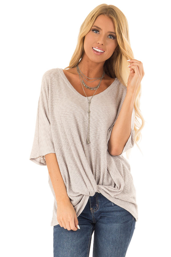 Heather Grey V Neck Ribbed Top with Front Twist front close up