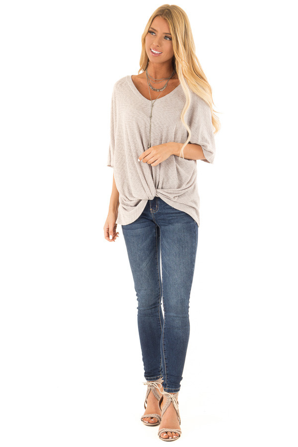 Heather Grey V Neck Ribbed Top with Front Twist front full body