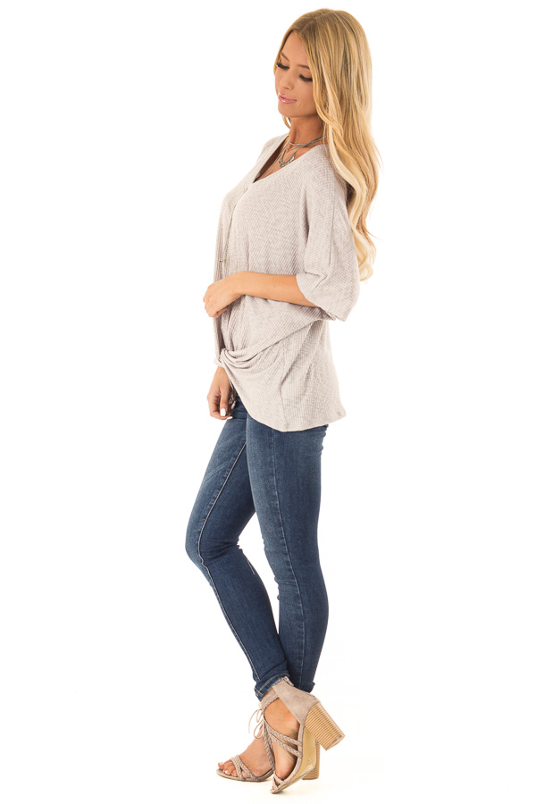 Heather Grey V Neck Ribbed Top with Front Twist side full body