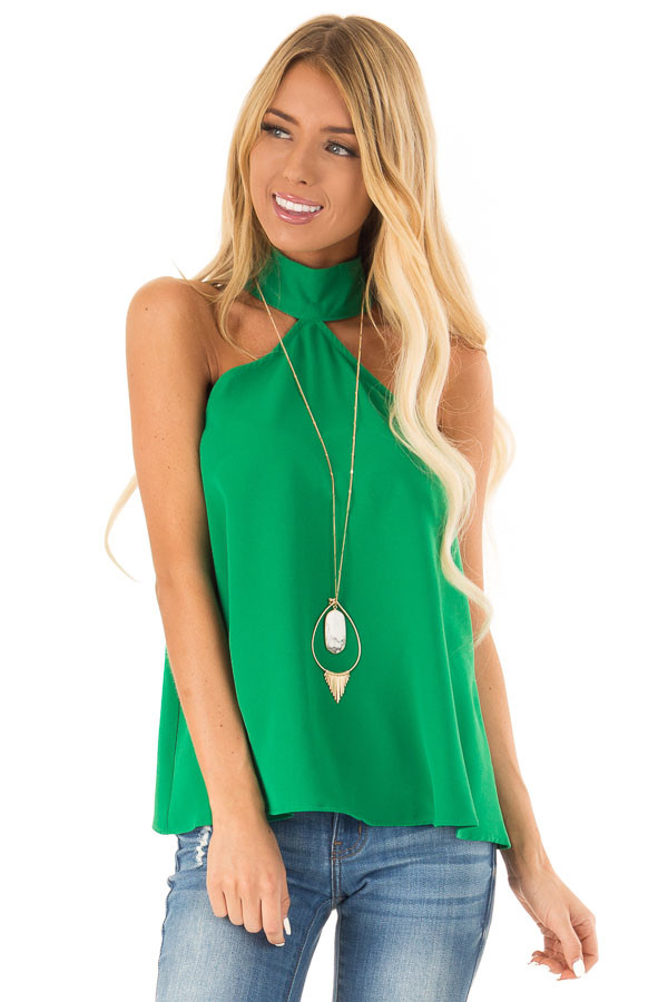 8c8a79f030599 Green Apple Sleeveless Halter Top with Keyhole Back - Lime Lush Boutique