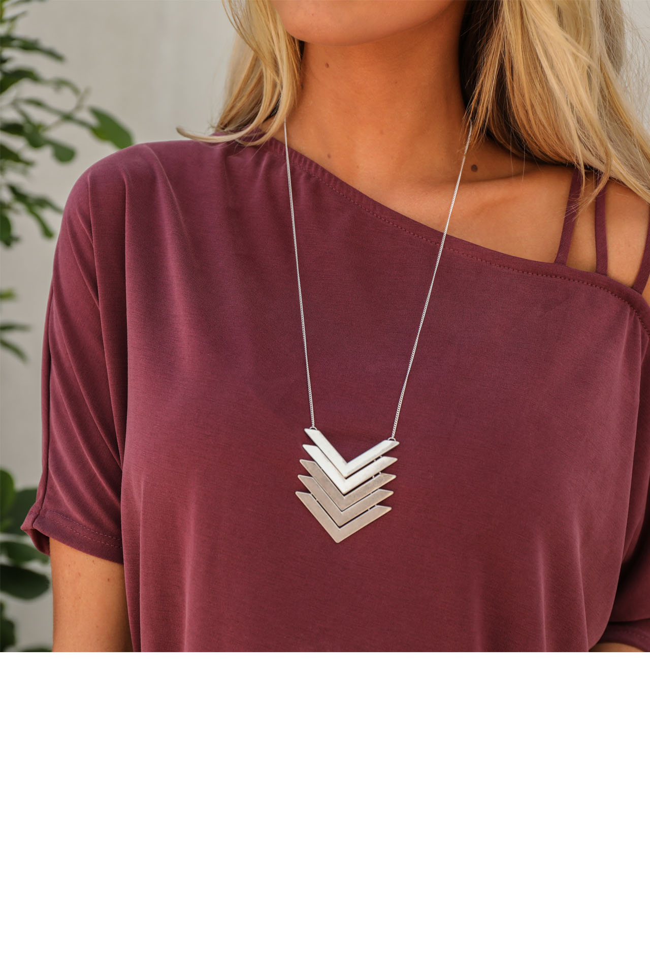 Silver Necklace with Layered Chevron Print Pendant