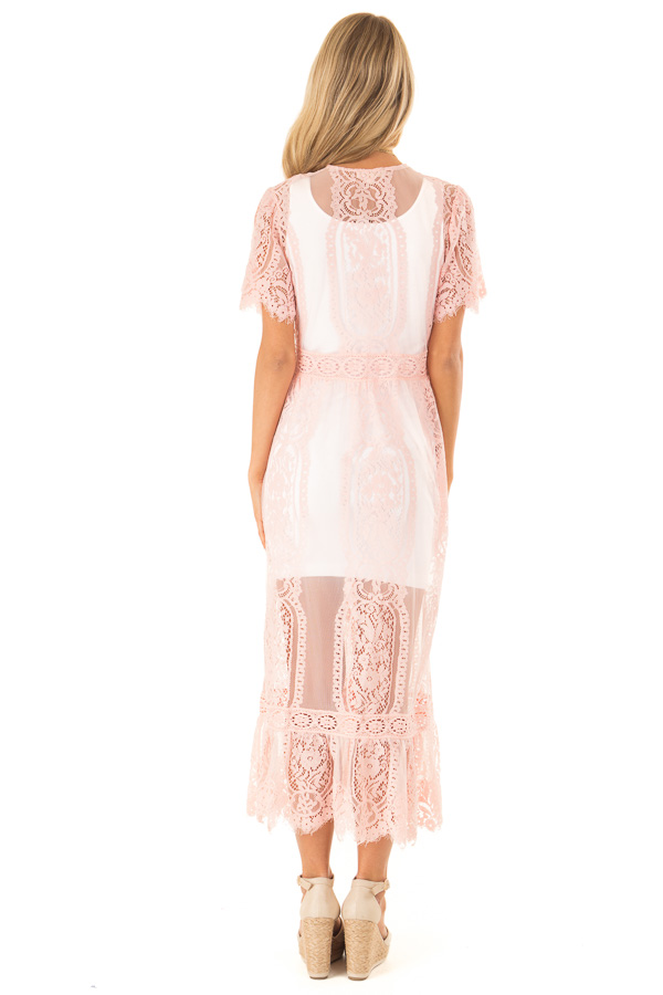 Bubble Gum Pink Short Sleeve Lace Kimono back full body