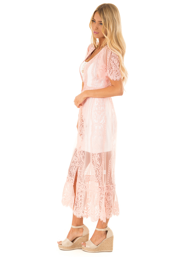Bubble Gum Pink Short Sleeve Lace Kimono side full body