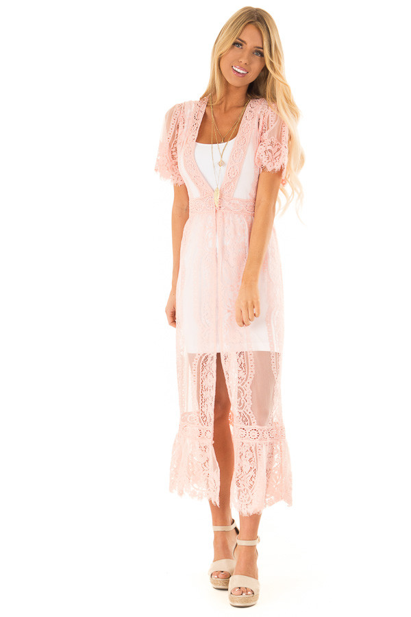 Bubble Gum Pink Short Sleeve Lace Kimono front full body