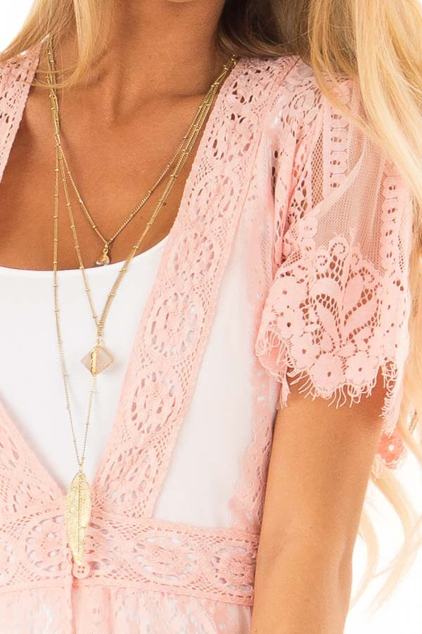 Bubble Gum Pink Short Sleeve Lace Kimono detail