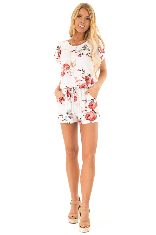 Ivory Floral Short Sleeve Romper with Pockets front full body
