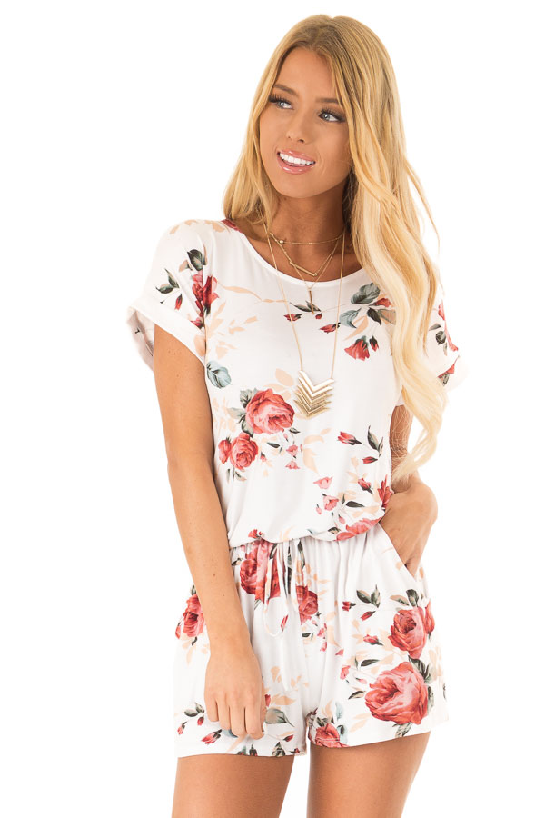 Ivory Floral Short Sleeve Romper with Pockets front close up
