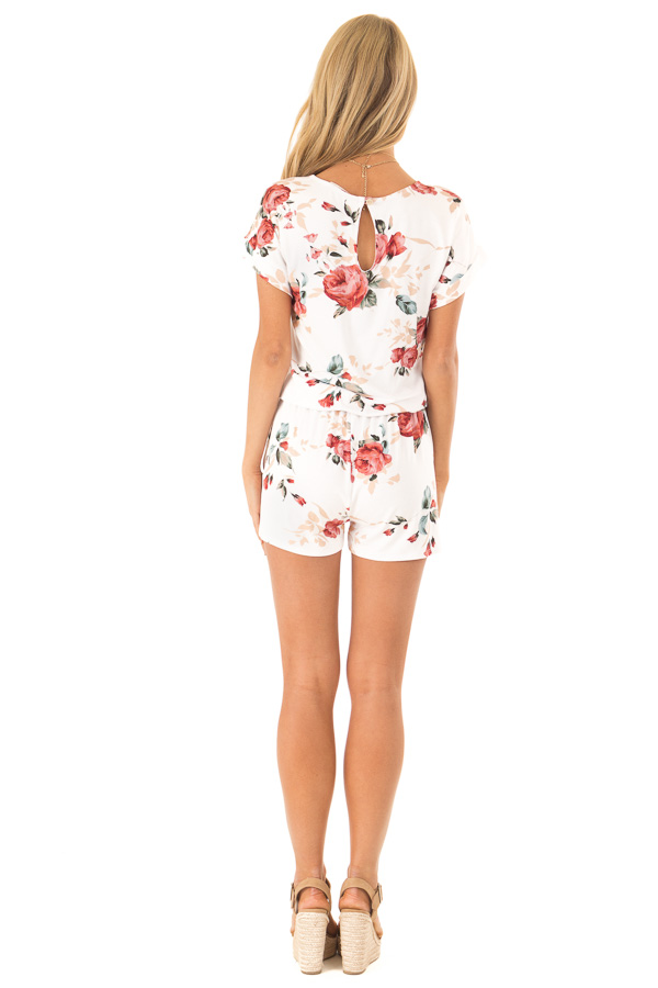 Ivory Floral Short Sleeve Romper with Pockets back full body