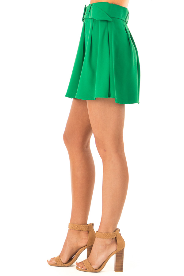 Green Apple Pleated Belted Skort with Buckle side view