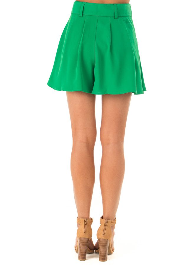 Green Apple Pleated Belted Skort with Buckle back view
