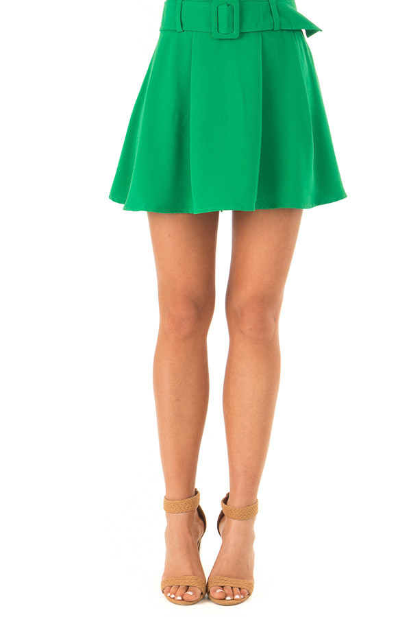 Green Apple Pleated Belted Skort with Buckle front view