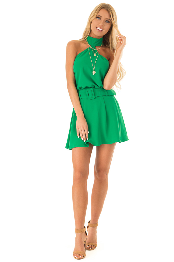 Green Apple Pleated Belted Skort with Buckle front full body