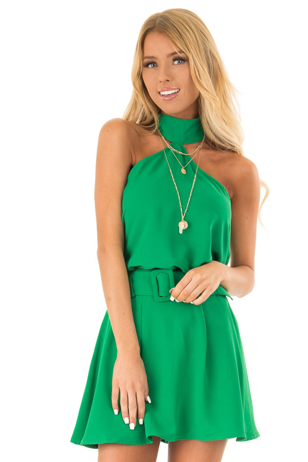 Green Apple Pleated Belted Skort with Buckle front close up
