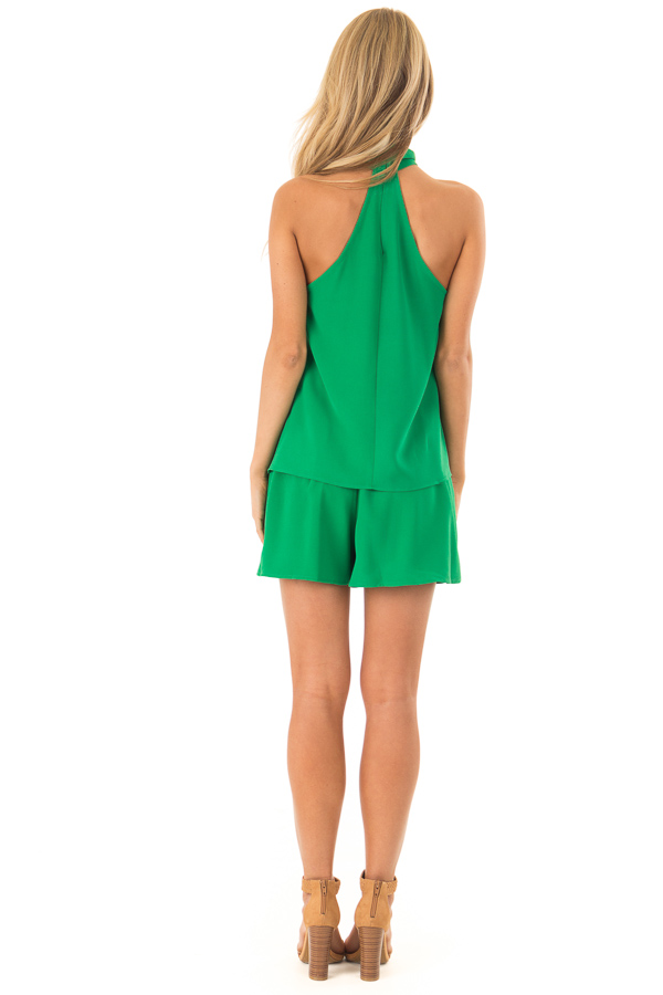 Green Apple Pleated Belted Skort with Buckle back full body