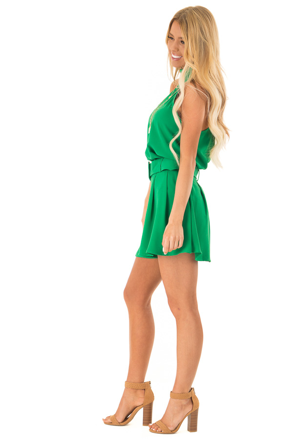 Green Apple Pleated Belted Skort with Buckle side full body