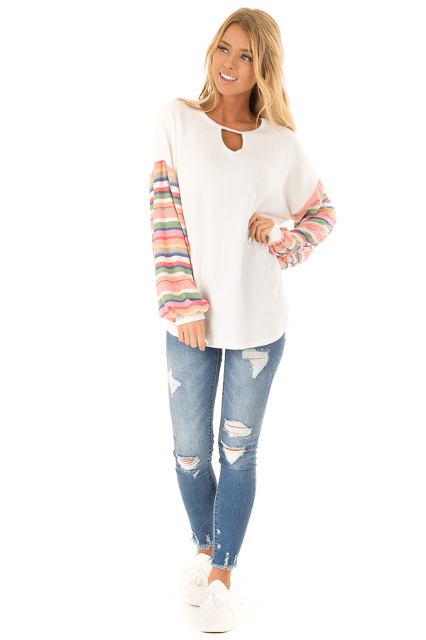 Off White Top with Keyhole Detail and Rainbow Long Sleeves front full body