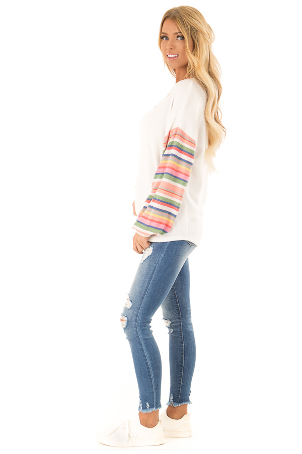 Off White Top with Keyhole Detail and Rainbow Long Sleeves side full body