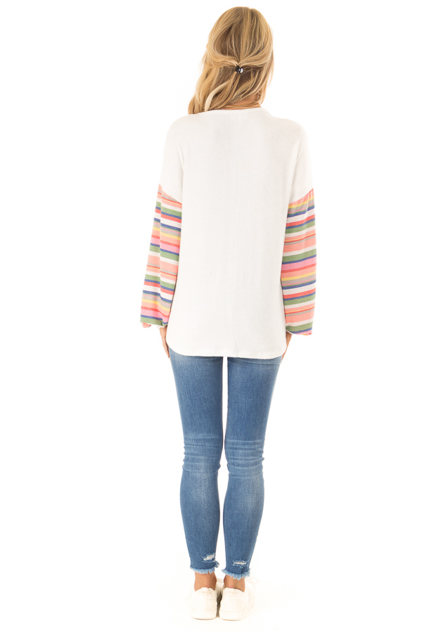 Off White Top with Keyhole Detail and Rainbow Long Sleeves back full body