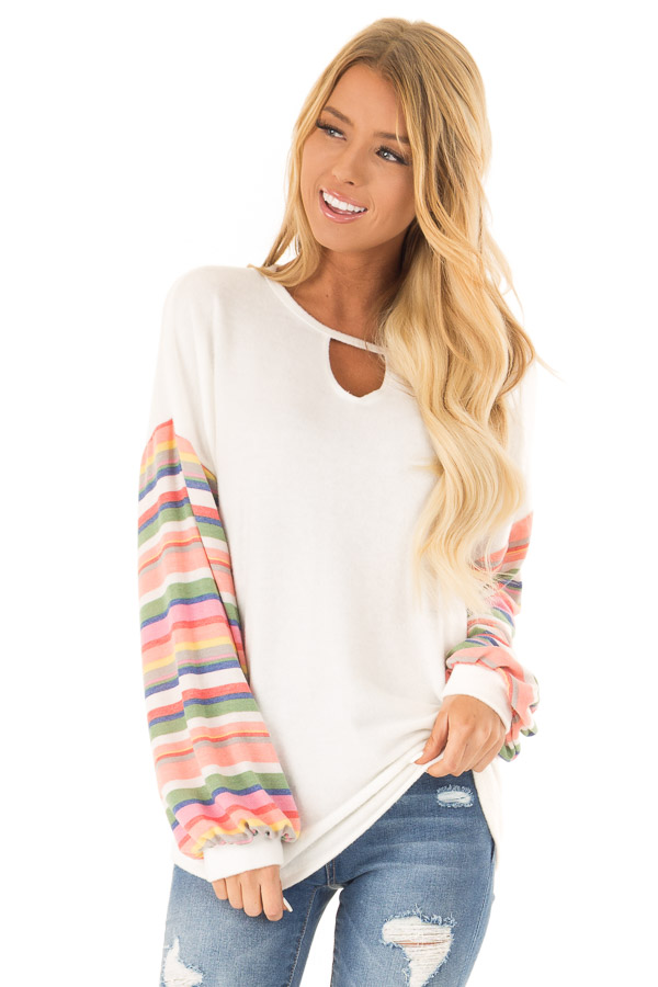 Off White Top with Keyhole Detail and Rainbow Long Sleeves front close up