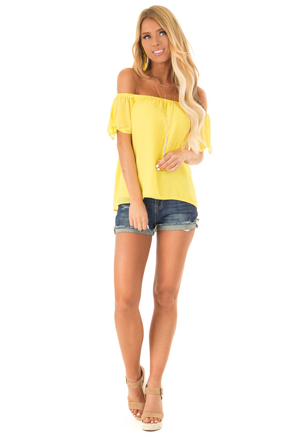 Pineapple Off the Shoulder Short Sleeve Top with Tie Detail front full body