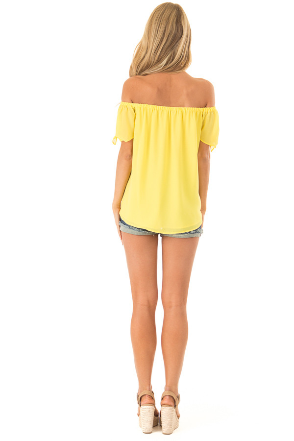 Pineapple Off the Shoulder Short Sleeve Top with Tie Detail back full body