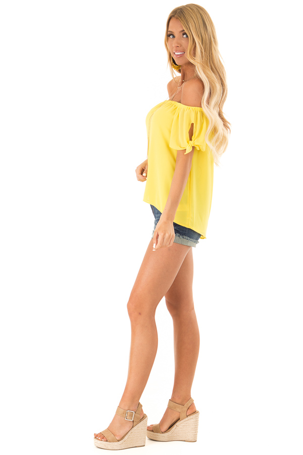 Pineapple Off the Shoulder Short Sleeve Top with Tie Detail side full body