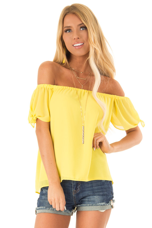 Pineapple Off the Shoulder Short Sleeve Top with Tie Detail front close up