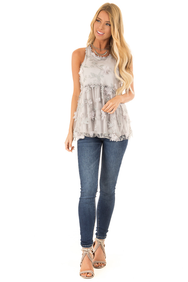 1dd3d01fe438a ... Silvery Grey 3D Floral Print Sheer Lace Tank Top front full body ...