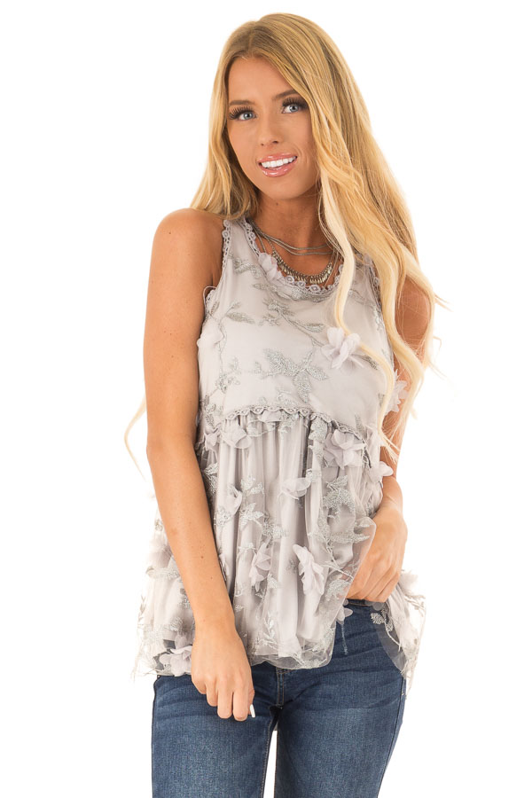 9a382b26557e2 Silvery Grey 3D Floral Print Sheer Lace Tank Top - Lime Lush Boutique