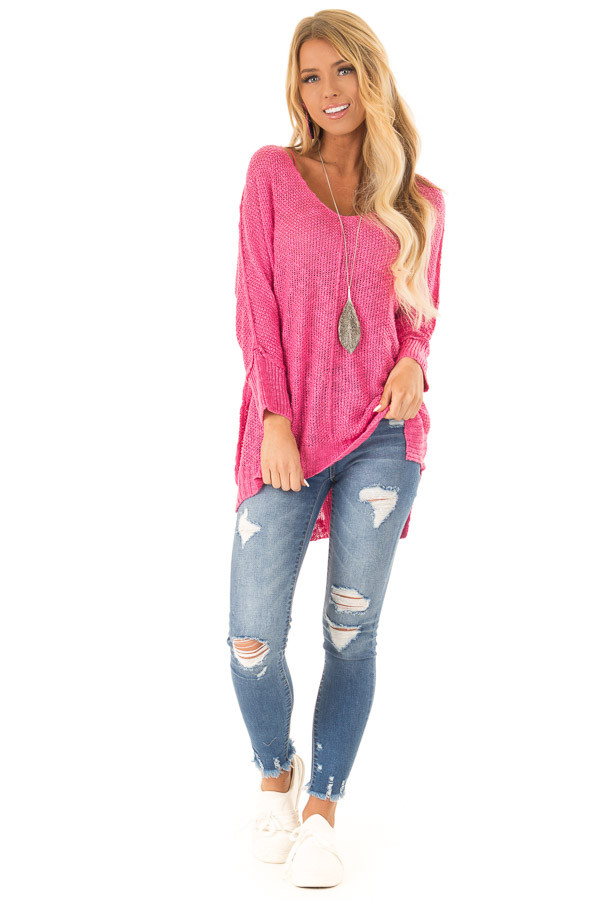 Fuchsia Long Sleeve Knit Top with Slits and Exposed Seams front full body