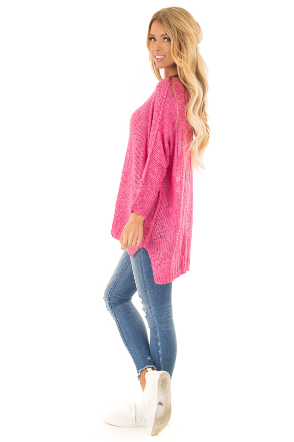 Fuchsia Long Sleeve Knit Top with Slits and Exposed Seams side full body