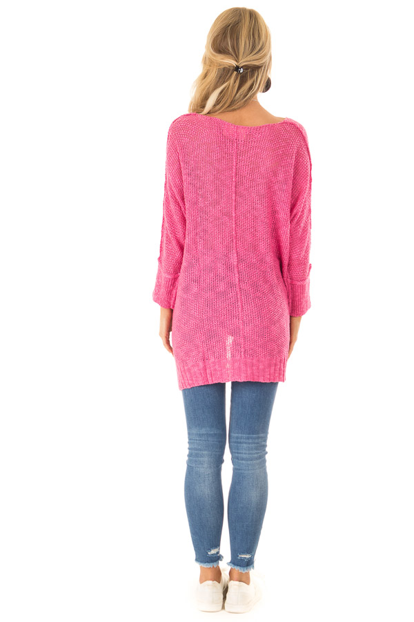 Fuchsia Long Sleeve Knit Top with Slits and Exposed Seams back full body