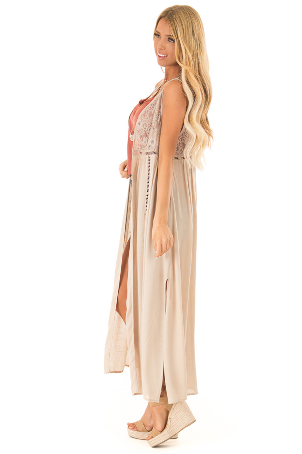 Desert Sand Sleeveless Long Lace Kimono Tank with Side Slits side full body
