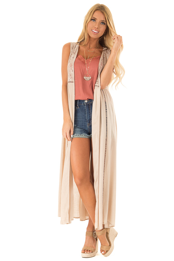 Desert Sand Sleeveless Long Lace Kimono Tank with Side Slits front full body