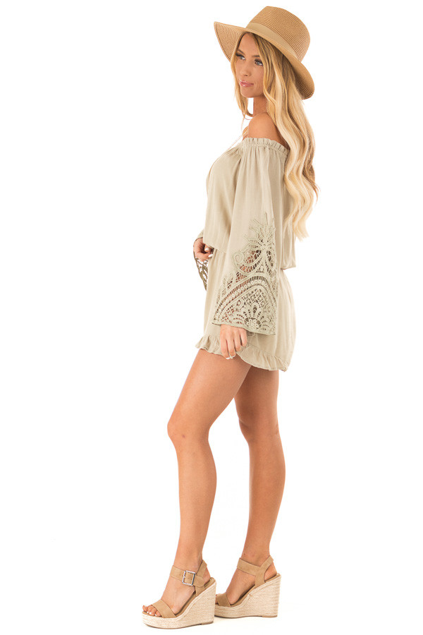0a21f53da3d3 ... Sage Off the Shoulder Romper with Lace Detail side full body ...