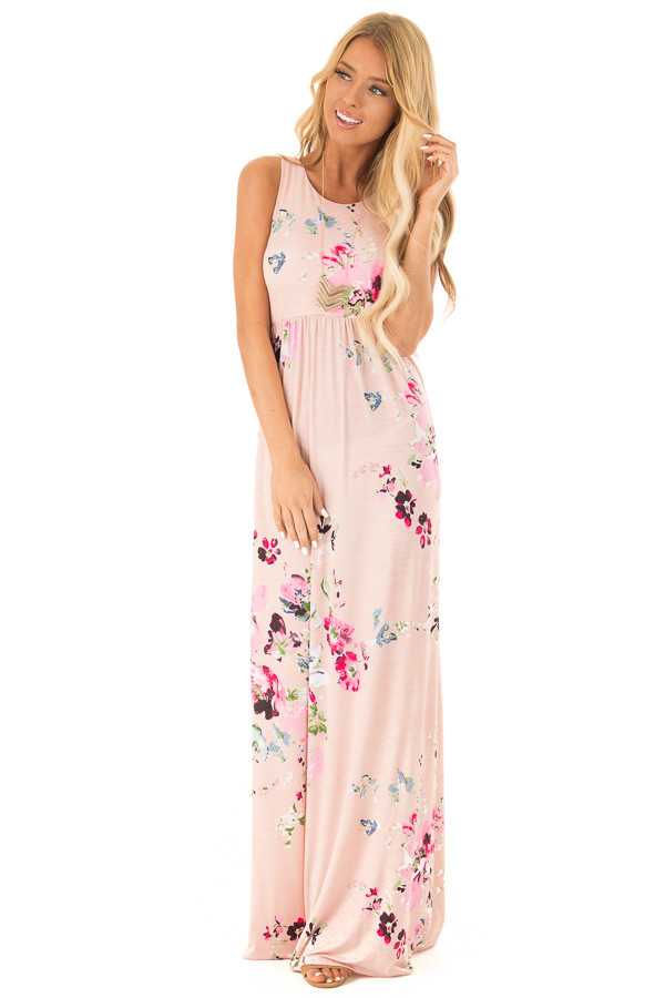 Baby Pink Floral Racerback Slinky Maxi Dress with Pockets front full body