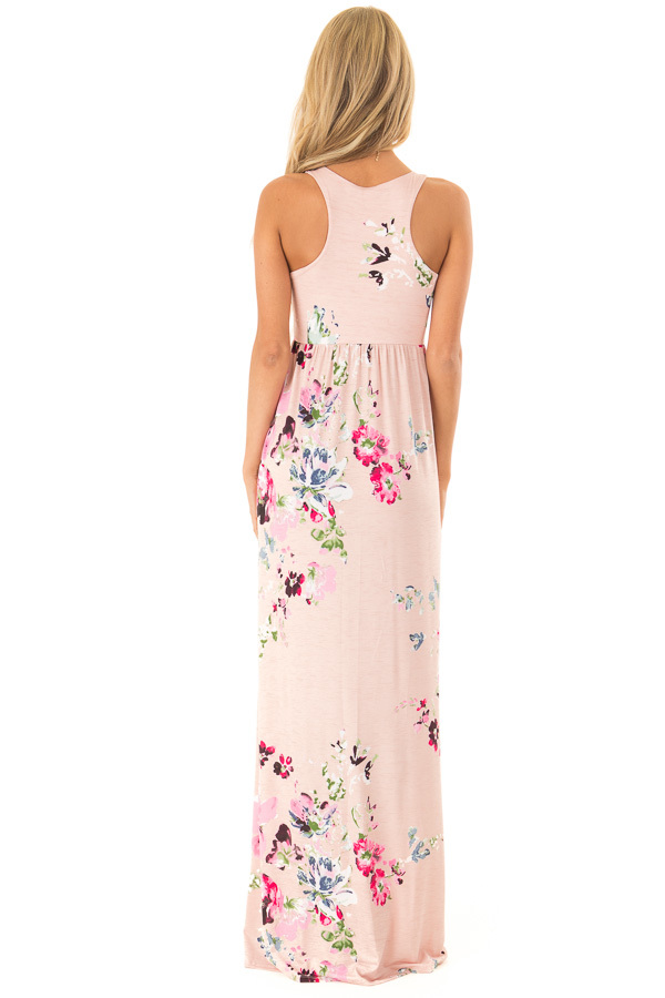 Baby Pink Floral Racerback Slinky Maxi Dress with Pockets back full body