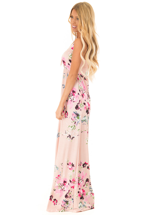 Baby Pink Floral Racerback Slinky Maxi Dress with Pockets side full body