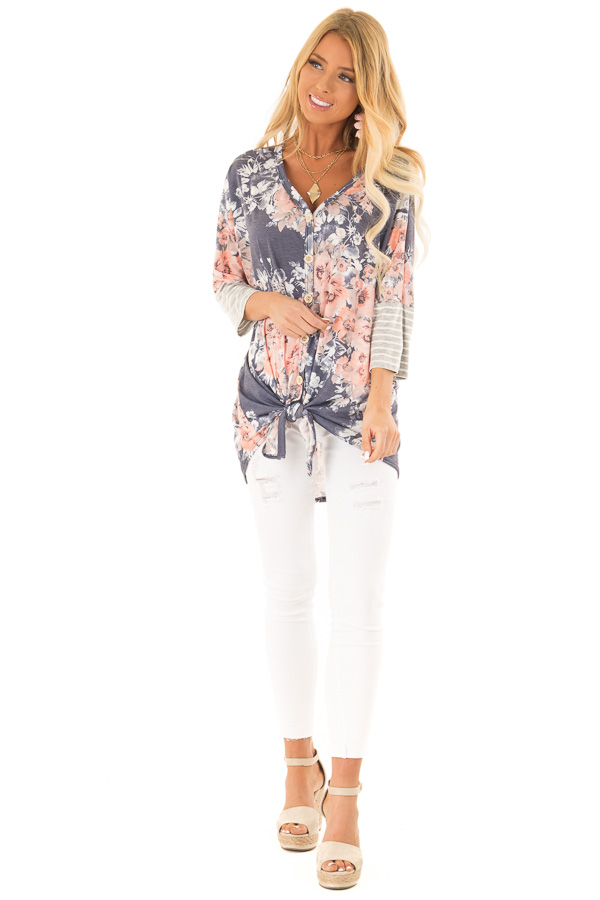 Navy Floral Print Button Up Top with Front Tie front full body