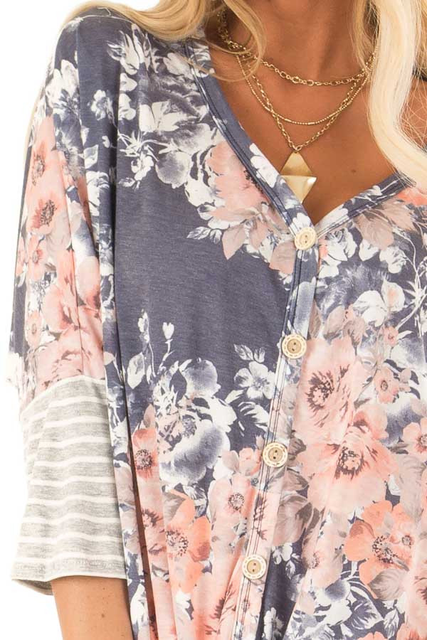Navy Floral Print Button Up Top with Front Tie detail