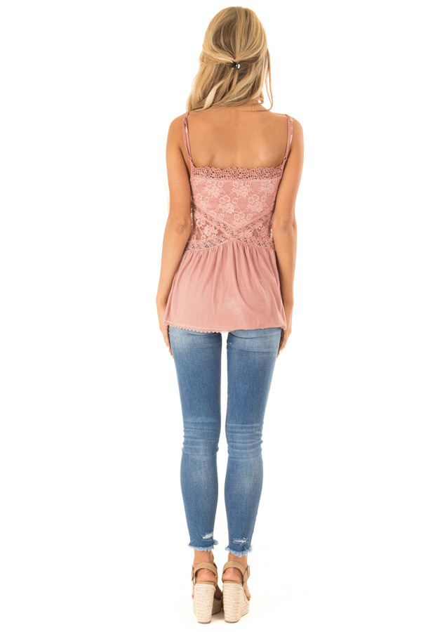 Dusty Mauve Peplum Tank with Sheer Lace Side Panels back full body